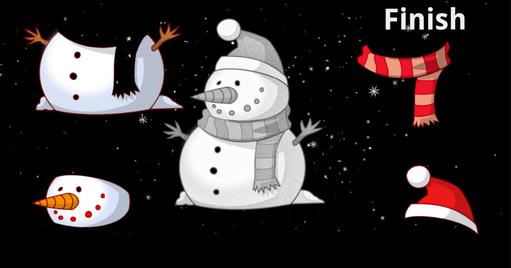 Snowman with red and pink scarf red santa hat big carrot nose and snow falling in the background